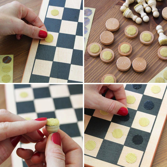 Chess Pieces Made VELCRO® Brand Sticky Back™ Coins
