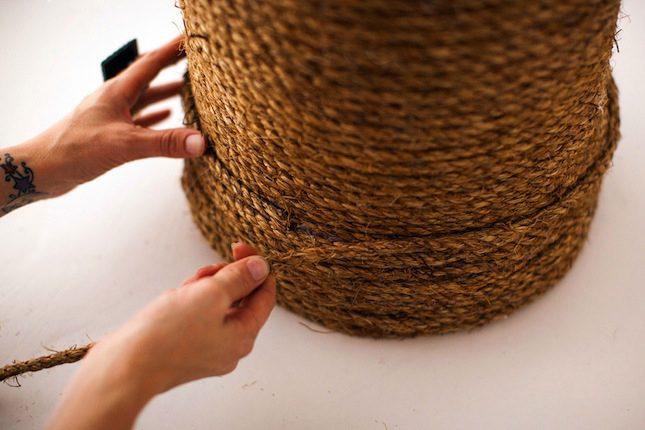 Rope Ottoman Detail DIY