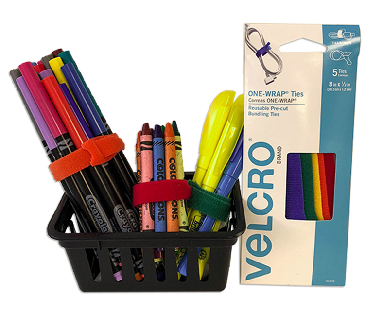 markers, crayons, highlighters organized with Velcro Brand ONE-WRAP ties