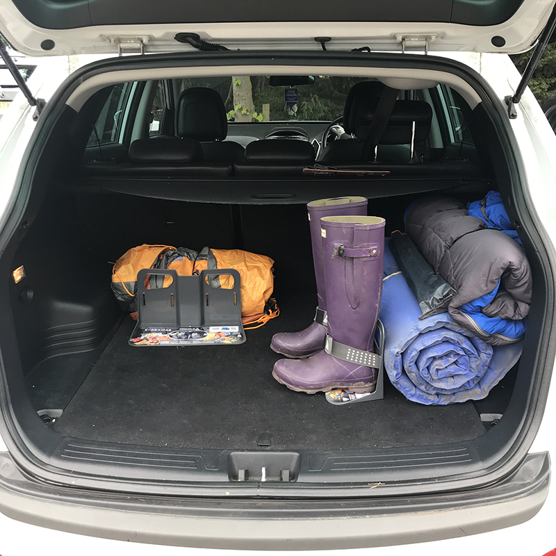 using stayhold cargo organizers to organize trunk for road trip