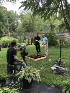 behind the scenes with Charlie Nardozzi filming gardening how-to videos; using Velcro® Brand garden products in your garden bed