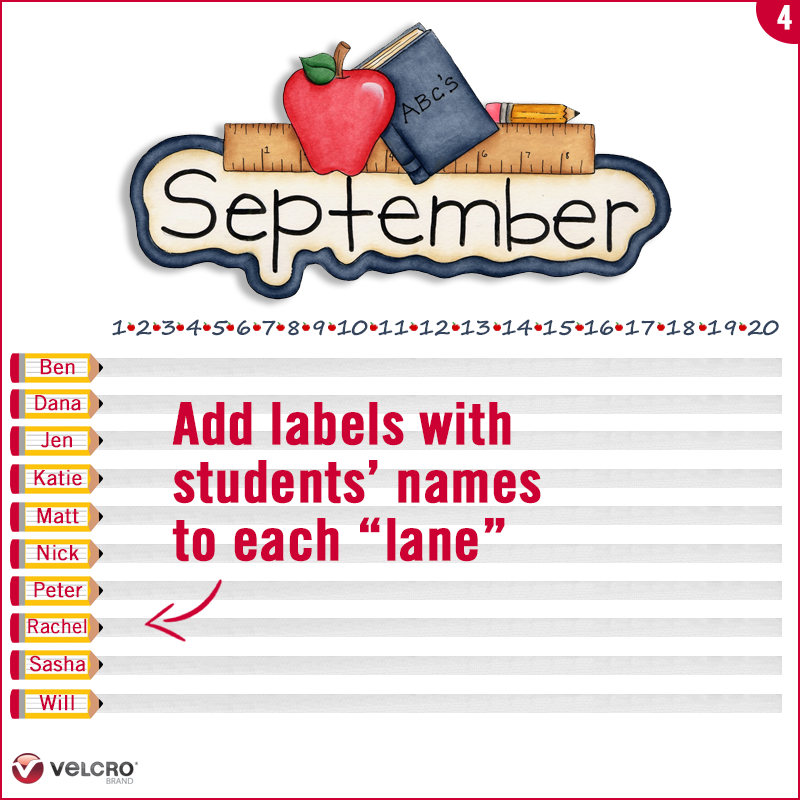 add labels for each student in each lane and attach to the lanes