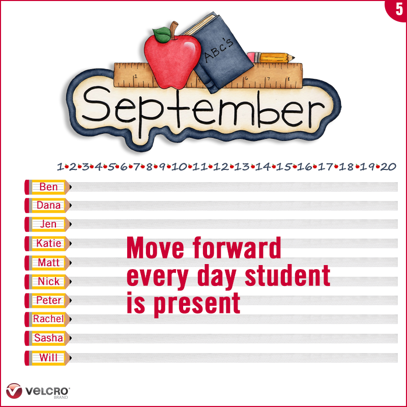 move each student's label forward for each day they are present