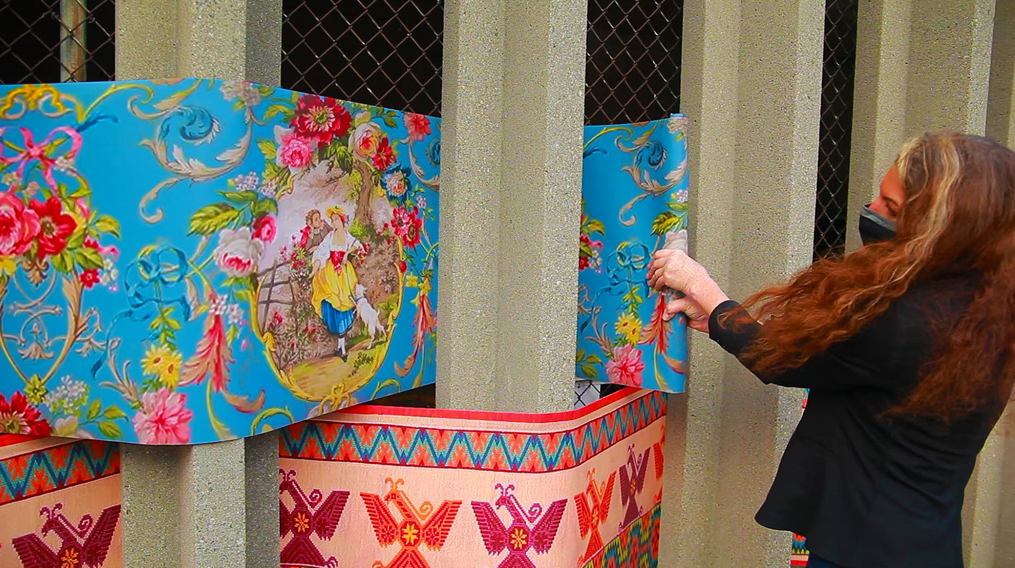 Installation artist Karin Giusti installing dreamweave