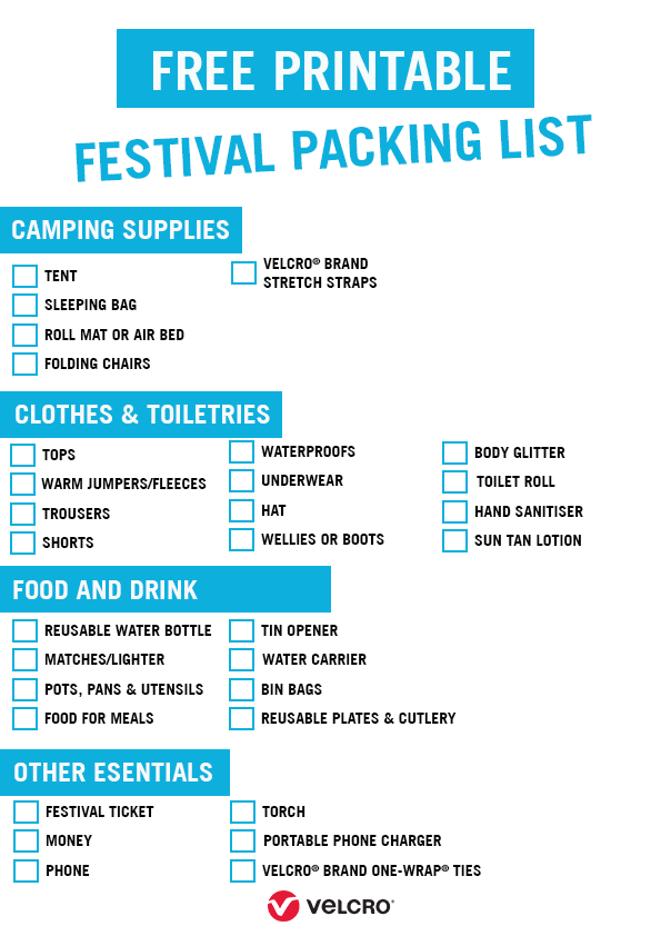 Free Printable Festival Packing List