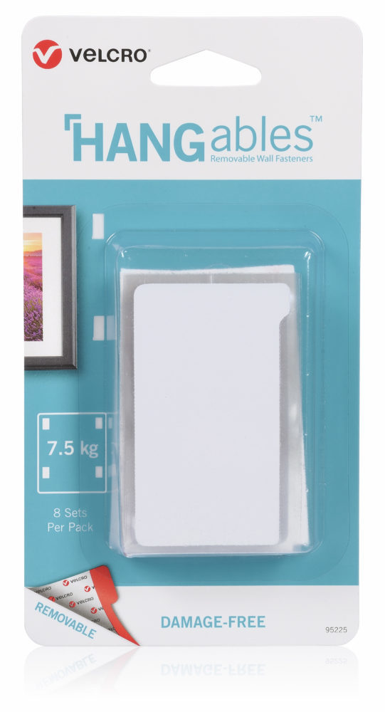 SET OF 8 RECTANGLES VELCRO® BRAND HANGABLES™ REMOVABLE WALL FASTENERS