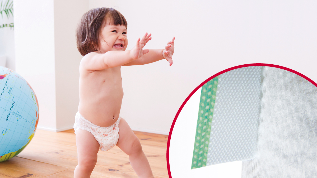 VELCRO® Brand soft fasteners for toddler diapers