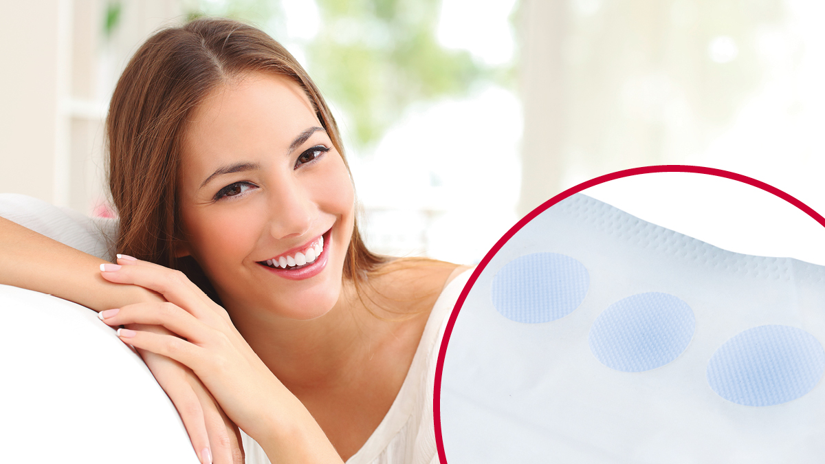 VELCRO® Brand soft fasteners for feminine care products